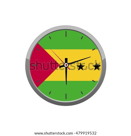 SAO TOME flag on wall clock