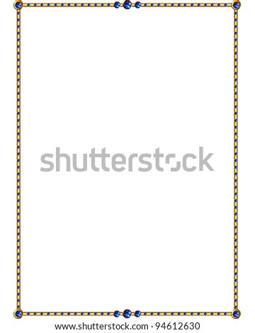 Sapphire and Gold vector Border - stock vector