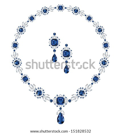 Sapphire necklace and matching earrings - stock vector