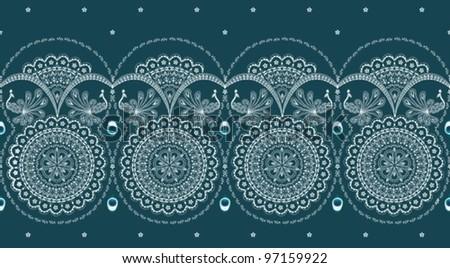 sari border with peacock design - stock vector