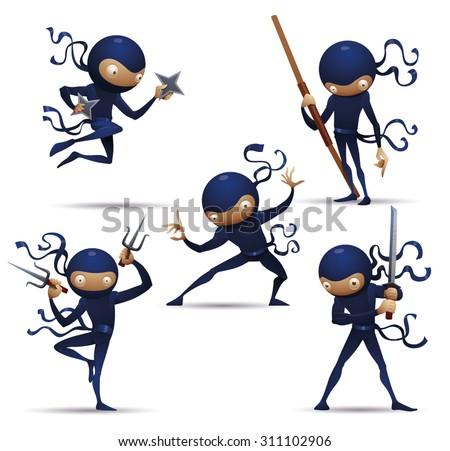 Sasuke Ninja Warriors set, vector - stock vector