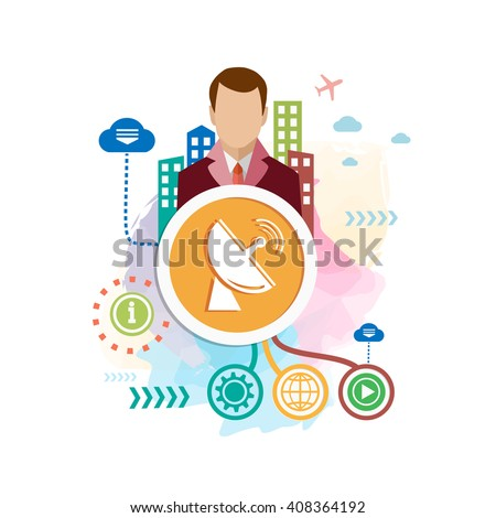 Satellite antenna and city on abstract colorful watercolor background with different icon and elements. Design for the  advertising, print, banner. - stock vector