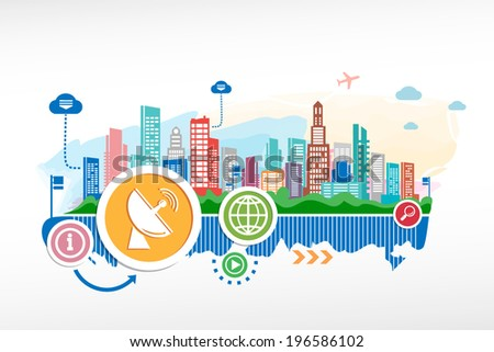 Satellite antenna and cityscape background with different icon and elements. Design for the print, advertising. - stock vector