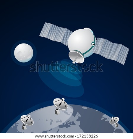 satellite at the Earth orbit connection And communications - stock vector