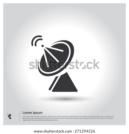 satellite dish icon, Radar satellite dish Icon. pictogram icon on gray background. Vector illustration for web site, mobile application. Simple flat metro design style. Outline Icon. Flat design style - stock vector