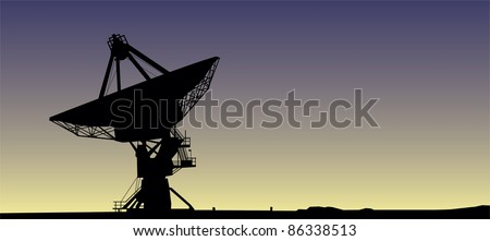 Satellite dish in sunrise vector image - stock vector