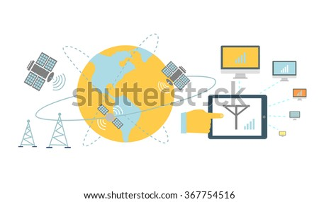 Satellite global network provider icon flat. Internet communication, computer technology, information digital, signal and connection station, web wireless space illustration. Global network provider - stock vector