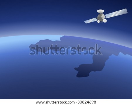 Satellite orbiting around the planet through the space - stock vector