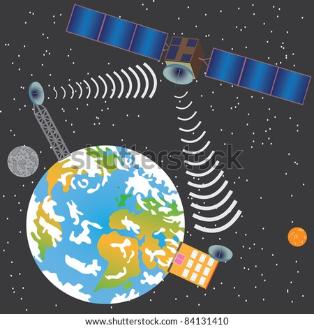 Satellite transmit signal from earth to house through space - stock vector