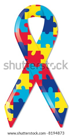 Satin awareness ribbon in brightly colored puzzle pattern, representing support of those with autism and Asperger Syndrome - stock vector