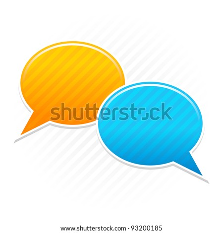 Satin blank speech bubbles sticker. Yellow and blue color web button icon. Striped shape with shadow on the light background. This vector illustration saved in 10 eps - stock vector