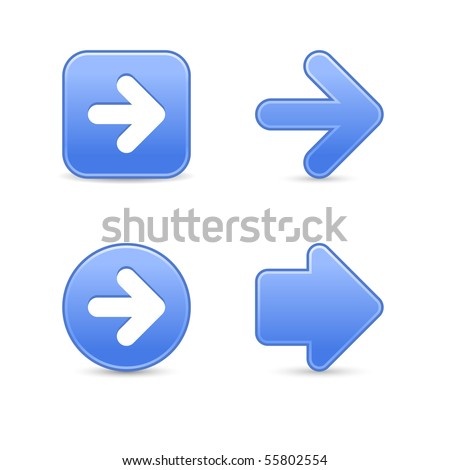 Satin blue arrow symbol web 2.0 buttons with shadow on white background - stock vector