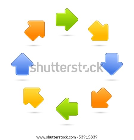 Satin internet web 2.0 button arrow sign. Colored symbol with shadow on white background