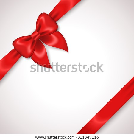 Satin Red Ribbon with Bow Isolated on White. Vector Illustration. Diagonal Gift Box Design. Invitation Decorative Card Template, Voucher Design, Holiday Invitation Design.  - stock vector