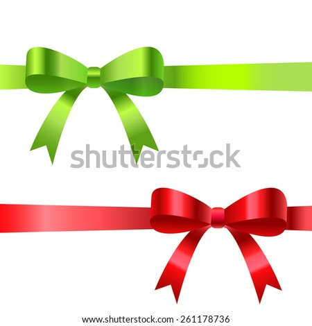Satin ribbons with bows. Vector illustration. - stock vector
