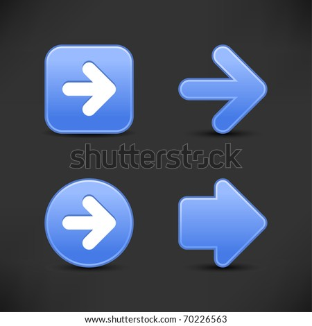 Satin smooth blue arrow sign web 2.0 buttons with shadow on gray background