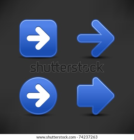 Satin smooth cobalt arrow sign web 2.0 buttons with black shadow on gray background