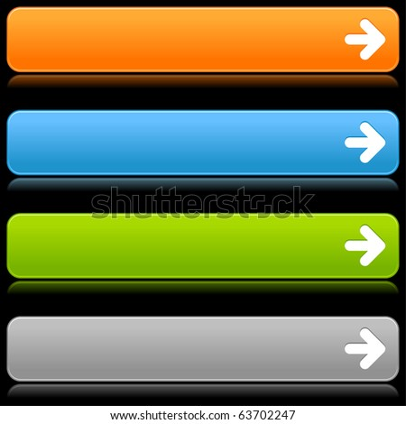 Satin smooth colored web 2.0 buttons with arrow icon and reflection on black background - stock vector