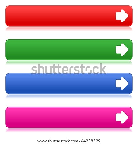 Satin smooth colored web 2.0 buttons with arrow sign and reflection on white background - stock vector
