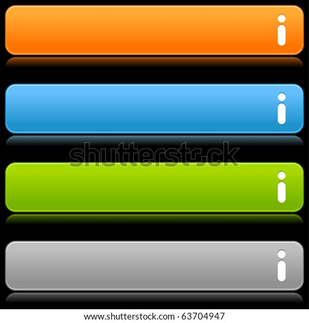 Satin smooth colorful web 2.0 buttons with information sign and reflection on black background - stock vector