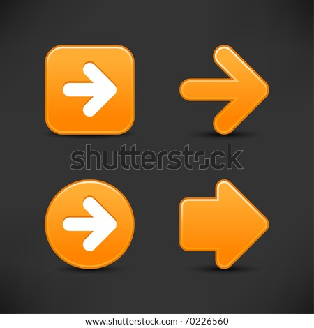 Satin smooth orange arrow sign web 2.0 buttons with shadow on gray background