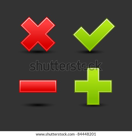 Satin smooth web 2.0 button validation icons with drop black shadow on gray background - stock vector