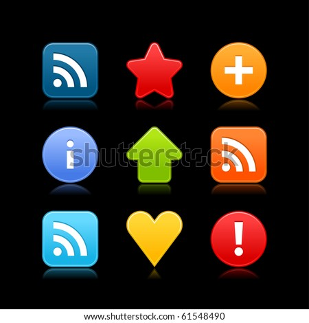 Satin smooth web 2.0 internet button set. Colored icons with shadow on black background