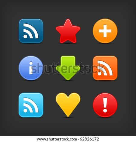 Satin smooth web 2.0 internet button set. Colored icons with shadow on gray background - stock vector