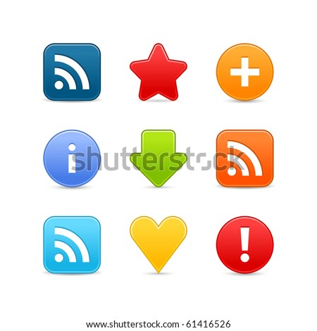 Satin smooth web 2.0 internet button set.  Colored icons with shadow on white background - stock vector