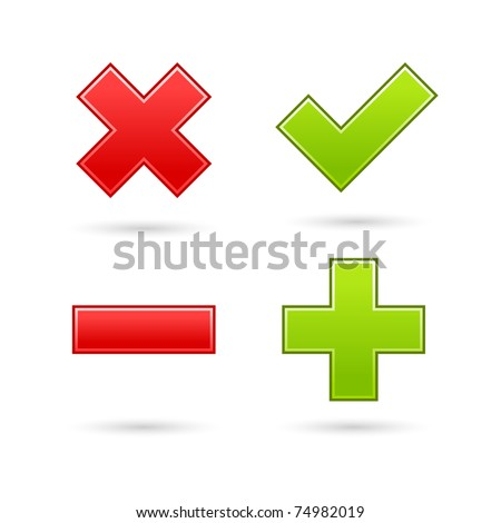 Satin web 2.0 button validation icons with drop gray shadow on white background - stock vector