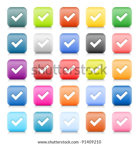 Satin web button with check mark sign. 25 colored variation for rounded square icon with shadow and reflection on white background. This vector created in technique of wire mesh and saved file eps 8 - stock vector
