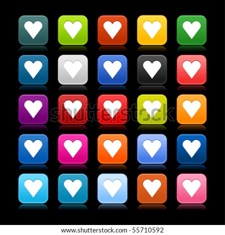 Satin web 2.0 button with heart sign on black background. Colored rounded square shapes with reflection. - stock vector