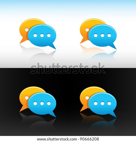 Satin web 2.0 button yellow and blue speech bubbles icon with four reflections on white and black background - stock vector