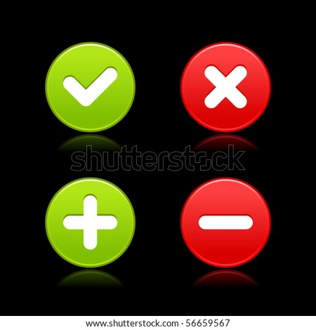 Satin web 2.0 buttons of validation icons with reflection on black background - stock vector