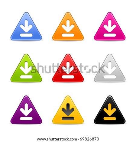 Satined download web 2.0 icon. Colored triangle buttons with shadow on white background - stock vector