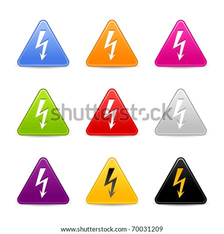 Satined web 2.0 icon with lightning sign. Colored triangle buttons with shadow on white background - stock vector