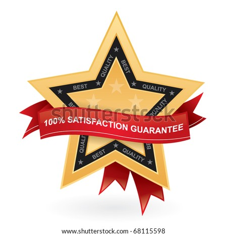 Satisfaction guarantee promotional vector sign - gold star with red ribbon - stock vector