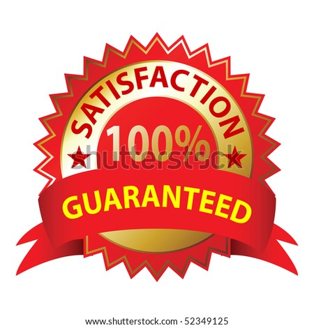Satisfaction Guaranteed, a white background, vector illustration.