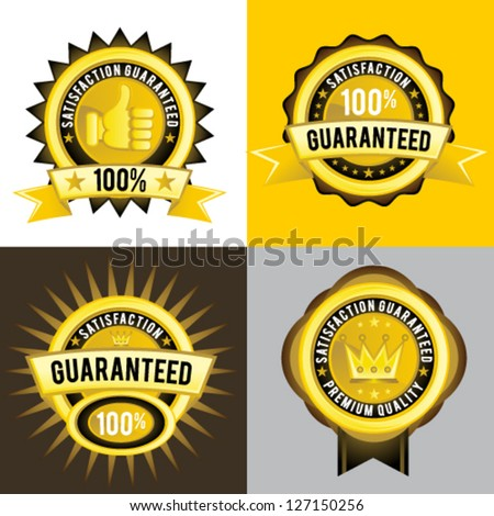 Satisfaction Guaranteed and Premium Quality � Vector golden labels, signs, emblem, and insignia. - stock vector