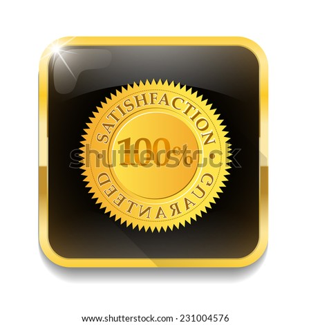 satisfaction guaranteed With long shadow over app button - stock vector