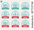 Satisfaction Labels and various Guaranteed Badges with retro vintage inspired design - stock photo