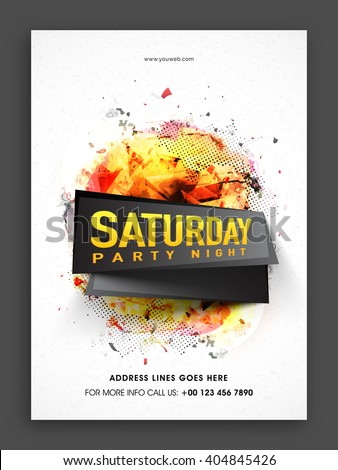 Saturday Party Night Template, Musical Party Flyer, Dance Party Banner or Club Invitation with colorful abstract design. - stock vector