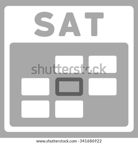 Saturday vector icon. Style is bicolor flat symbol, dark gray and white colors, rounded angles, silver background. - stock vector