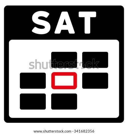 Saturday vector icon. Style is bicolor flat symbol, intensive red and black colors, rounded angles, white background. - stock vector