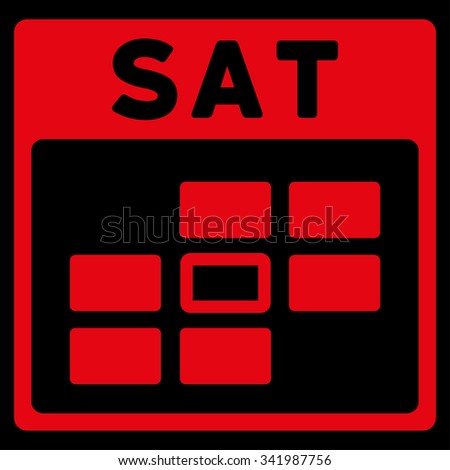 Saturday vector icon. Style is flat symbol, red color, rounded angles, black background. - stock vector