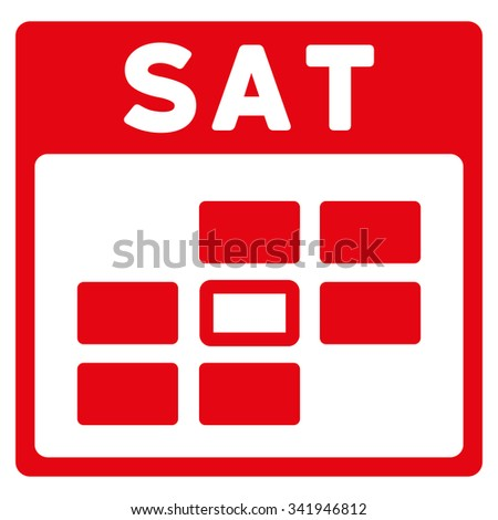 Saturday vector icon. Style is flat symbol, red color, rounded angles, white background. - stock vector