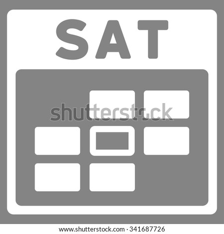 Saturday vector icon. Style is flat symbol, white color, rounded angles, gray background. - stock vector