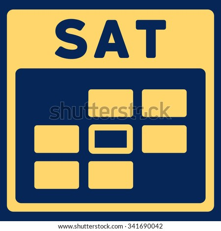 Saturday vector icon. Style is flat symbol, yellow color, rounded angles, blue background. - stock vector