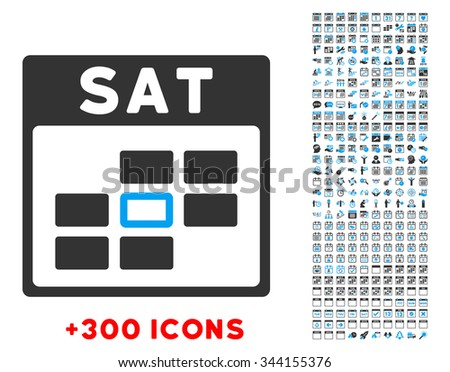 Saturday vector pictogram with additional 300 date and time management icons. Style is bicolor flat symbols, blue and gray colors, rounded angles, white background. - stock vector
