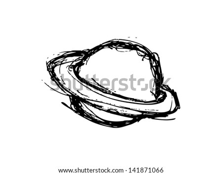 Saturn planet doodle isolated on white background - stock vector